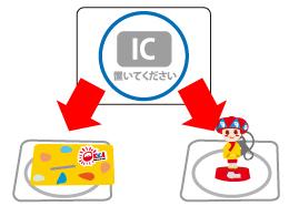 「ICマーク」の上にOKICAまたはフィギュア付きOKICAを置いて下さい。