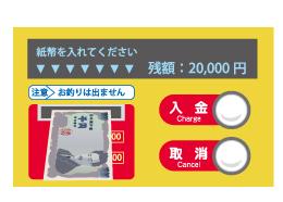 紙幣を1枚ずつ入れます。