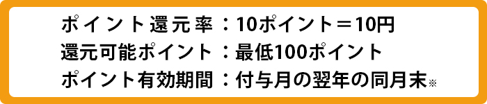 ポイント還元率 10ポイント=10円