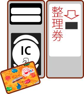 乗車時に整理券横の読取り部にタッチしてください。